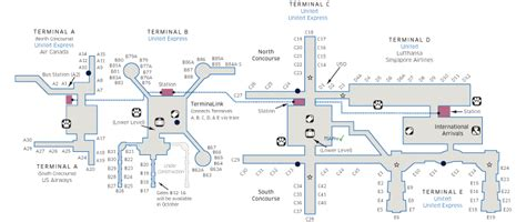 iah terminal map houston intercontinental iah airport map united airlines