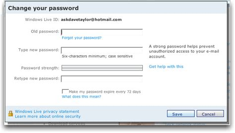 windows live reset your password how do i change my hotmail password in windows live