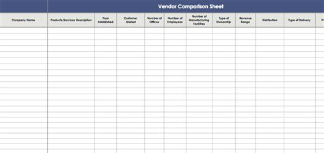 vendor comparison sheet template ms office guru