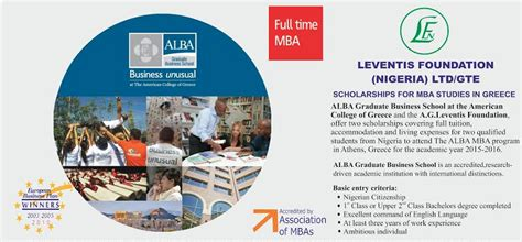 Mba Scholarships For International Students 2015 by 2015 Leventis Foundation Nigeria Ltd Gte Scholarships