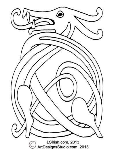 wood carving  celtic dragon knot pattern  lora  irish