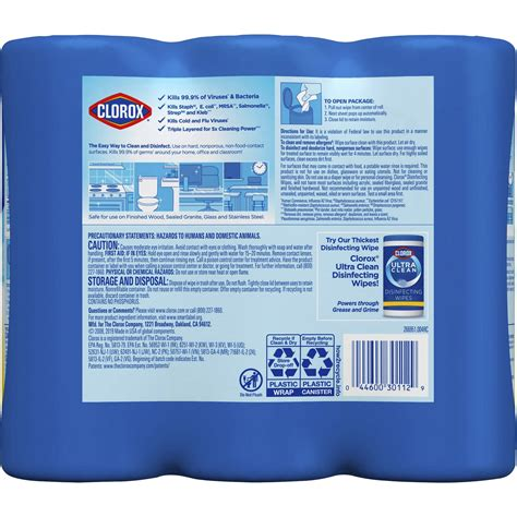 clorox bleach  disinfecting wipes  pack