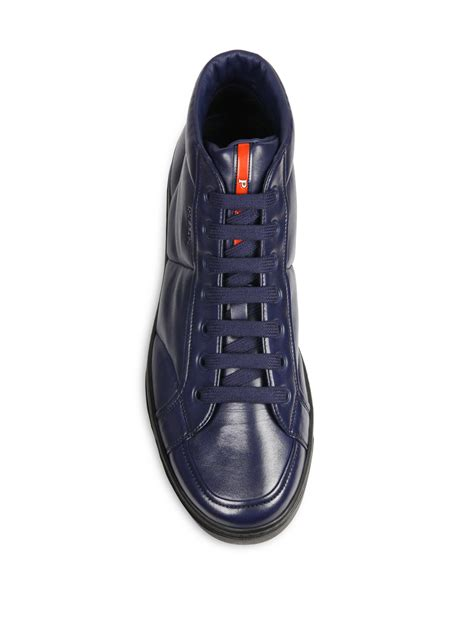 blue leather sneakers lyst prada mid top leather sneakers in blue for