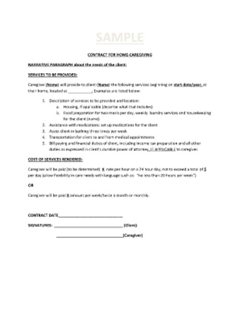 caregiver agreement template sle client service contract forms and templates