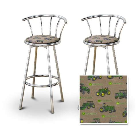 Deere Stool With Backrest by 2 Deere Tractor Fabric Chrome Swivel Bar Stool