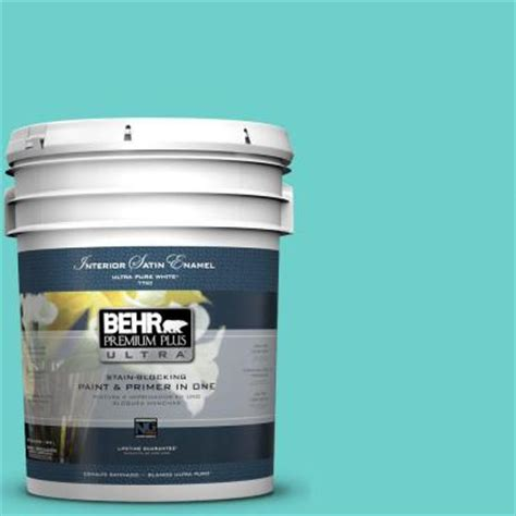 behr premium plus ultra 5 gal p450 4 sea glass satin enamel interior paint 775405 the