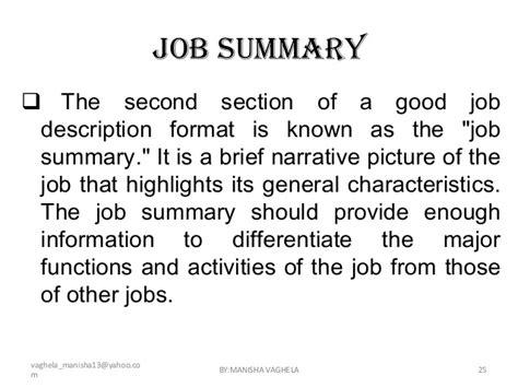 section description job descriptions