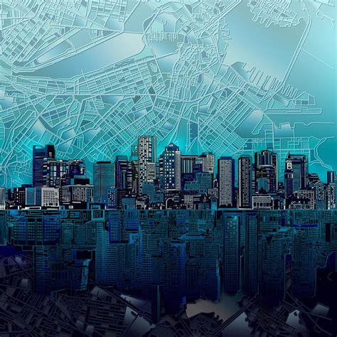 Cityscape Curtains Boston Skyline Abstract Blue Painting By Bekim Art