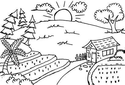 kumpulan gambar mewarnai pemandangan untuk anak mewarnai pemandangan alam mewarnai gambar