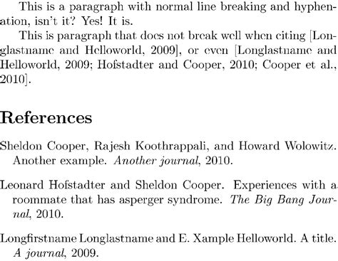 what is a reference section bibtex line breaking or hyphenation of references in