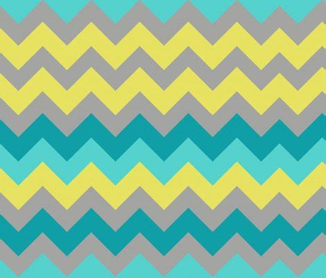 yellow and turquoise ocean chevron fabric bluenini spoonflower