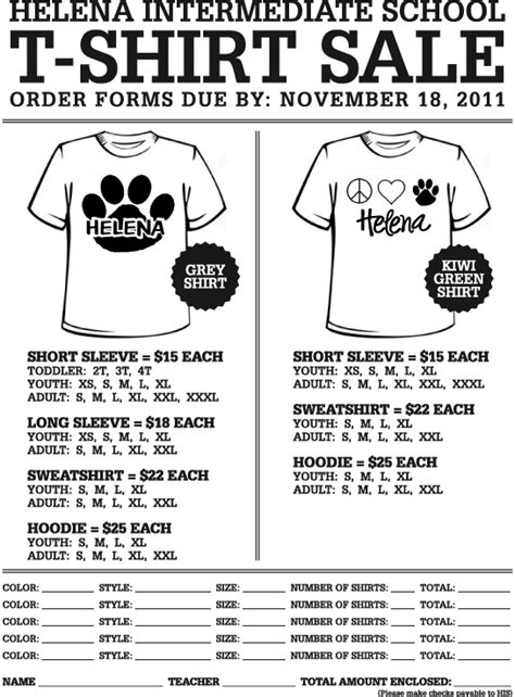 custom t shirt order form template search results for template order form for t shirts