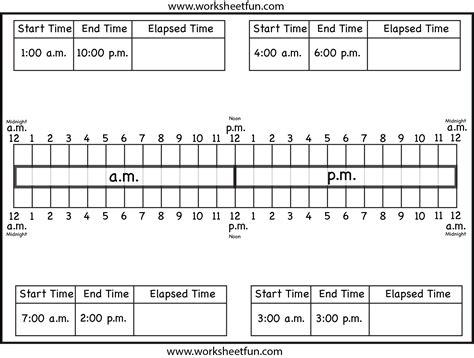 calculate elapsed time ten worksheets free printable