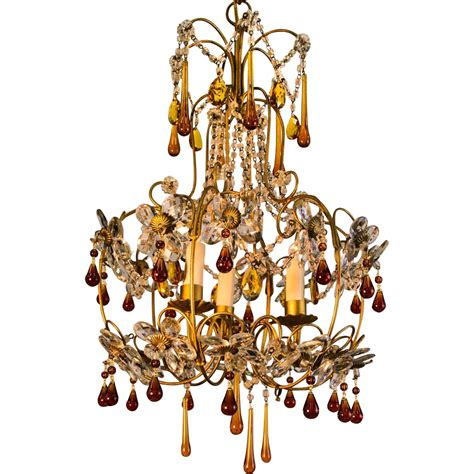 Gold Chandeliers Mid Century Gold Italian Birdcage 3 Light Chandelier From Table M On Ruby