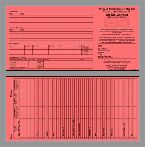 Kansas Records Printable Immunization Record