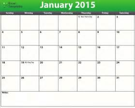 2015 Printable Calendar Template by Printable Blank Monthly Calendar Template 2015 Calendar