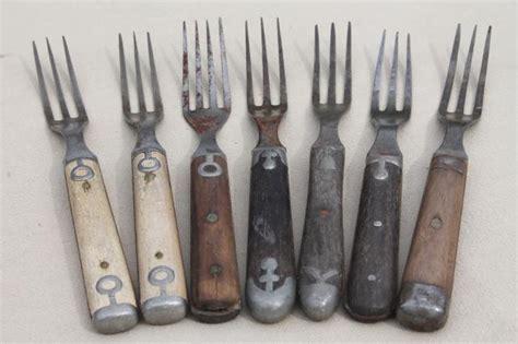 Faux Crystal Chandeliers Lot Old Antique Bone Handled Wood Handle Steel Forks