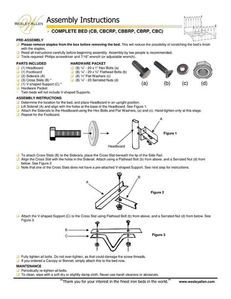 wesley allen bed assembly instructions images frompo