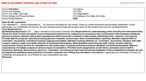 document controller cover letters