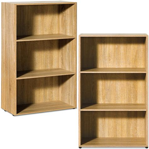 oak bookcase shelf wooden shelves bookshelf 115cm shelving