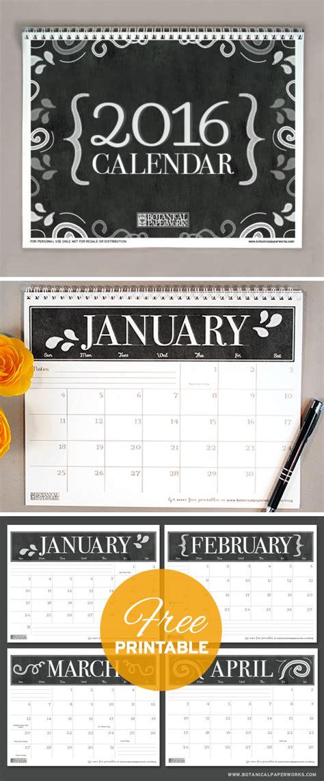 Printable Calendar 2016 Botanical Paperworks   free printables three stylish 2016 calendars blog