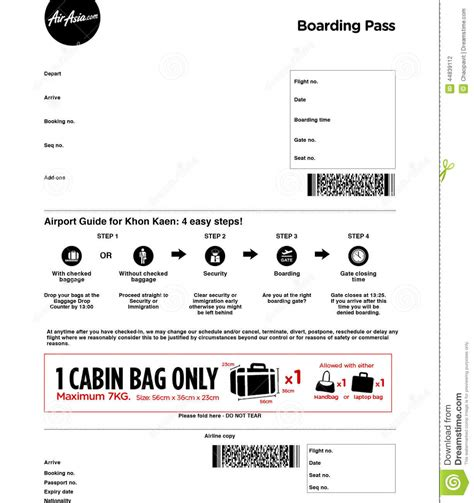 airasia pass airline boarding pass stock photo image 44839112