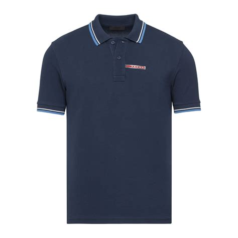 Polo Bb Stripe Navy Blue contrast stripe trimmed polo navy blue l prada touch of modern