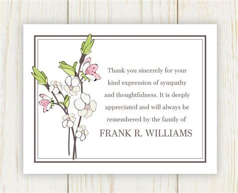 printable thank you for your sympathy cards cherry blooms funeral thank you card digital file sympathy