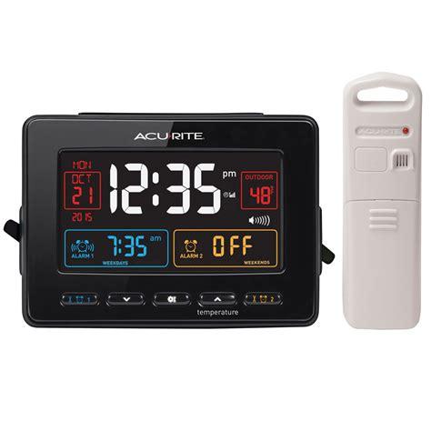 acurite 13022 atomic dual alarm clock with usb charging and temperature ebay