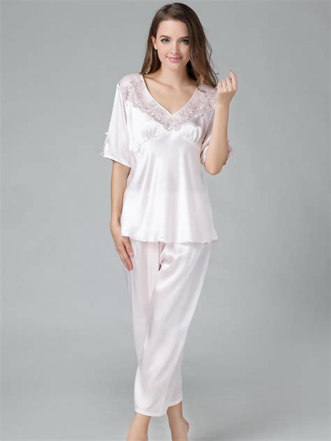 Silk Pajamas by Silk Pajamas Set With Lace