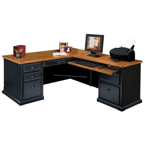 martin furniture black and oak ldesk with right return
