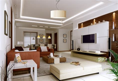 Living Room Interior by Yellow Wall L Chandelier Living Room Interior Design 3d