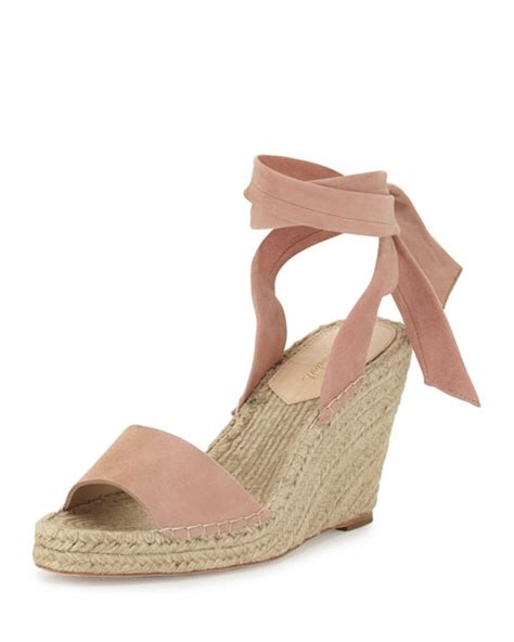 blush wedge sandals loeffler randall ankle wrap wedge espadrille sandal