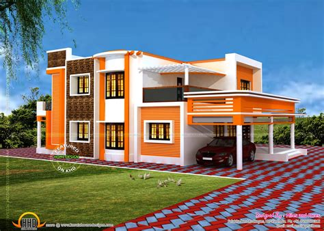 Floor Plan Of 4 Bedroom House by Floor Plan Of Modern Flat Roof House Kerala Home Design