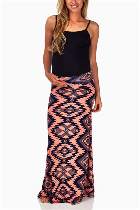 coral navy blue tribal print maternity maxi skirt