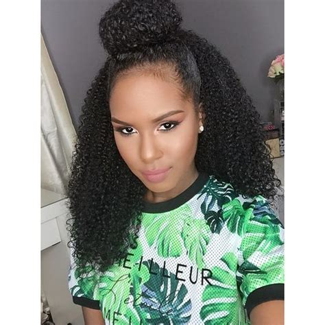 half up half down kinky curly hairstyles curly half up half down bun hair pinterest half up