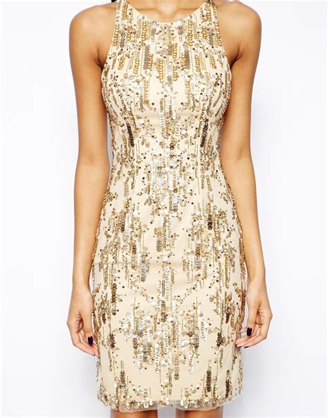Dress Of The Day Embellish Shift Dress by Forever Unique Sandie Embellished Shift Dress In Metallic