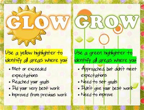 planning go and grow quot glow and grow quot reflection freebie poster and handouts