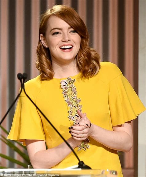 emma stone yellow emma stone wears a yellow shift dress at the women in