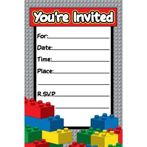 Boy Lego Birthday Card Template Word by Lego City Invitations Lock Blocks Invitations 8 Feb