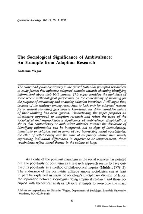 how to write sociology research paper the sociological significance of ambivalence an exle