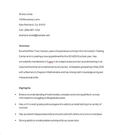 Tutoring Resume by 11 Tutor Resume Templates Doc Pdf Free Premium