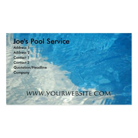 service card template pool service sided standard business cards pack of 100 zazzle