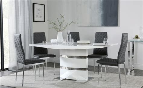 grey and white dining table komoro white high gloss dining table with 6 renzo grey