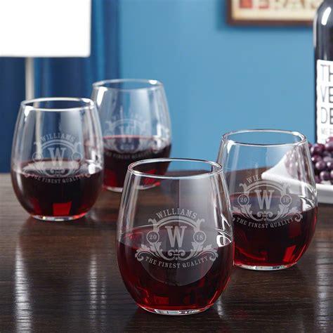 westbrook monogram etched stemless wine glasses set