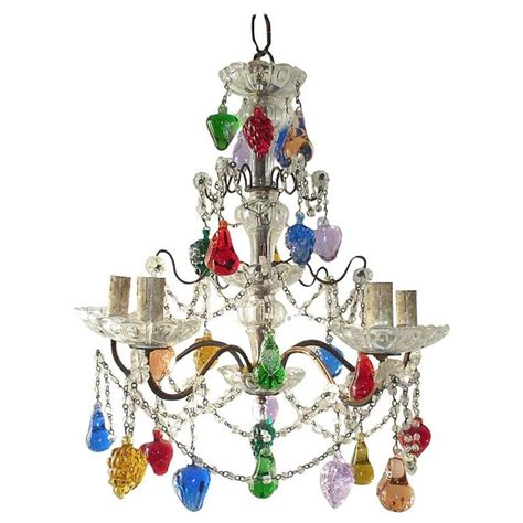 Multi Colored Chandelier Lighting Murano Multi Colored Fruit Chandelier At 1stdibs