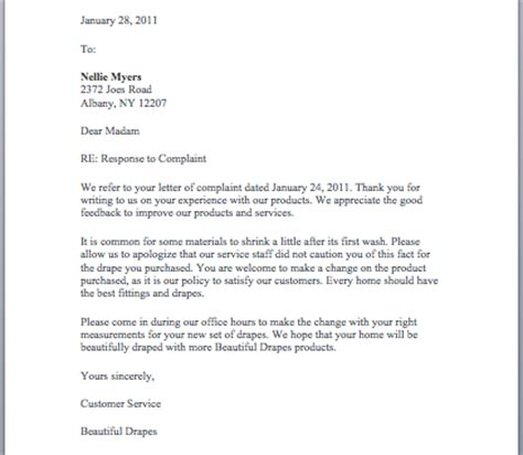 Letter Of Complaint Customer Service Sle Replying To A Complaint Letter Template 28 Images Responding To A Complaint Letter Sle Cover