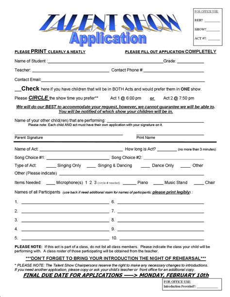 talent show registration form template cherry avenue pta