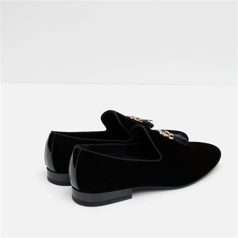 Zara Tassel Original Zara Velvet Loafers With Tassels In Black For Lyst