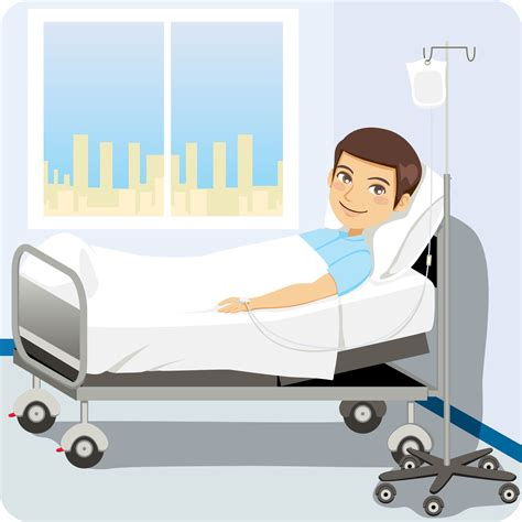 patient bed patient in hospital bed with family cartoon